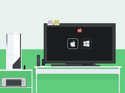 Desk illustration vector flat desk computer screen