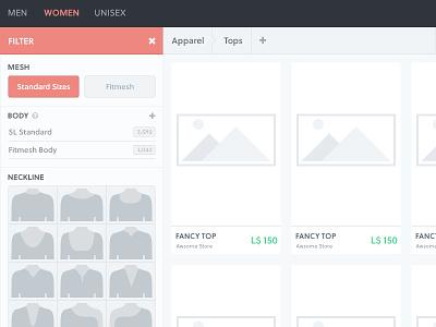 Marketplace filter flat webdesign webpage marketplace shopping ui filter ux web store