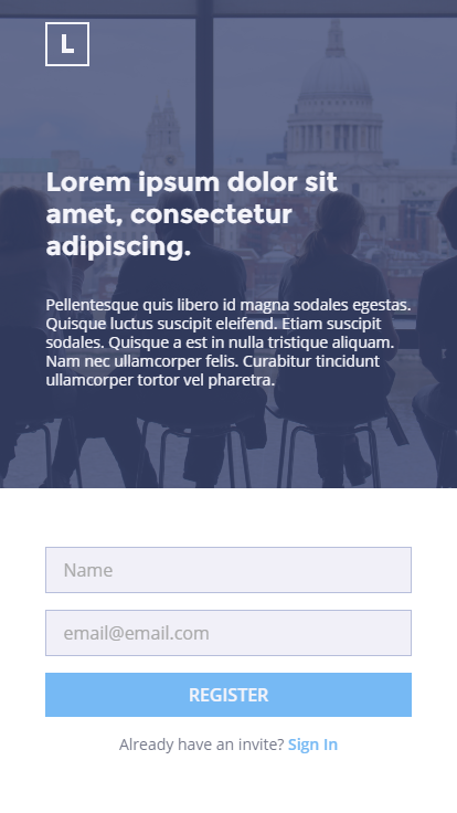 Mobile landing sign up page