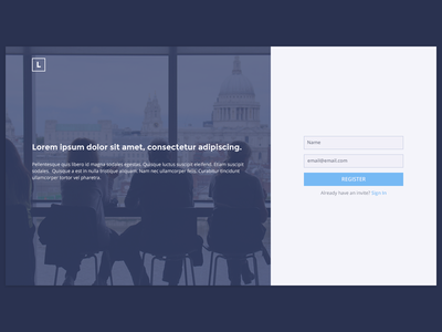 Landing Sign Up Page landing page simple clean