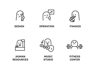 Company department icons by liyangzi dribbble for Product design jobs amsterdam