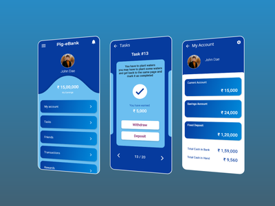 Pig-eBank app design interface mobile vector illustration branding ux ui design app