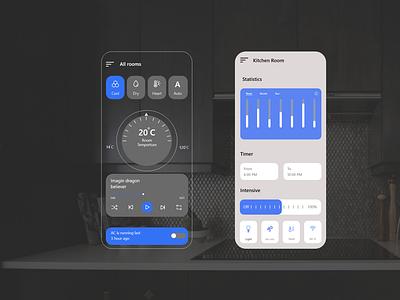 Air-Condition remote control app UI design | brizmi wireframe livingroom dashboard creativity air-condition concept redesign uidesigner creative remote control illustrator flat web app icon ux ui brizmi minimal design