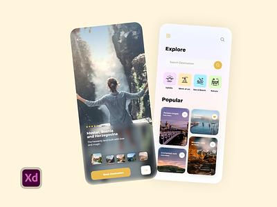 Travel app UI design uiuxdesigner creative ui  ux branding icon minimal design uiux design uidesign adobexd uikit mobileuiux mobileui uiux ux ui