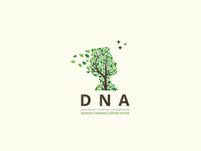 DNA alphabetisation development nutrition tree human nature leaves logo design art logo