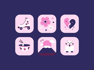 Emo Japan japanese culture design challenge cherry blossom japanese food emo rollerskates japan illustration