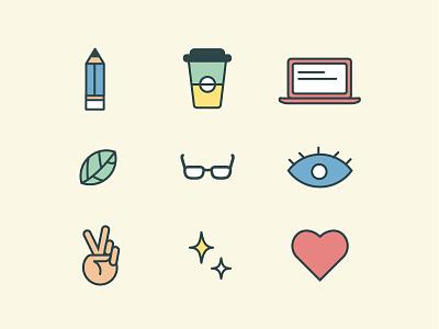 Developers of habit laptop leaf peace sparkle heart vector outline random stationery glasses icons