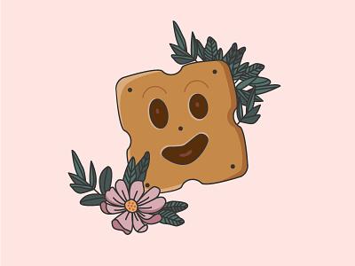BN BN flowers illustration food fun 90s biscuit