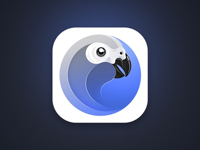 Jino App Icon african grey parrot client ios white blue jino parrot icon iphone app twitter