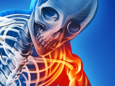 Skeleton 1 warm cold orange blue spooky products medical joints skeleton