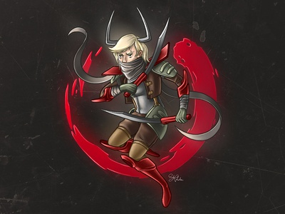 Server digital illustration warrior character design character