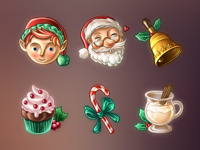 Christmas Stickers bell cupcake candy cane eggnog elf santa holidays jolly imessage stickers christmas