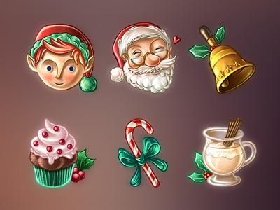Christmas Stickers bell cupcake candy cane eggnog elf santa holidays jolly imessage stickers christmas