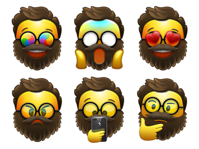 Bearded Emojis design character stickers emoji beard