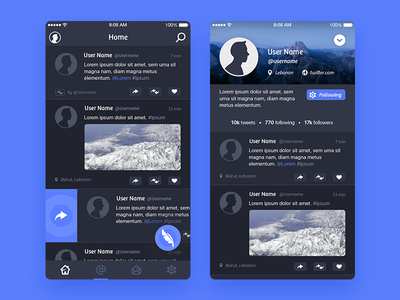 Jino - Home and Profile client twitter ui app jino
