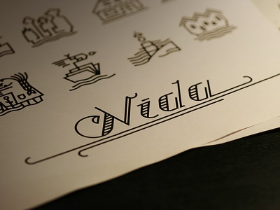 Nida icons navy nida light house typeface retro icons sea bay book marine stripes