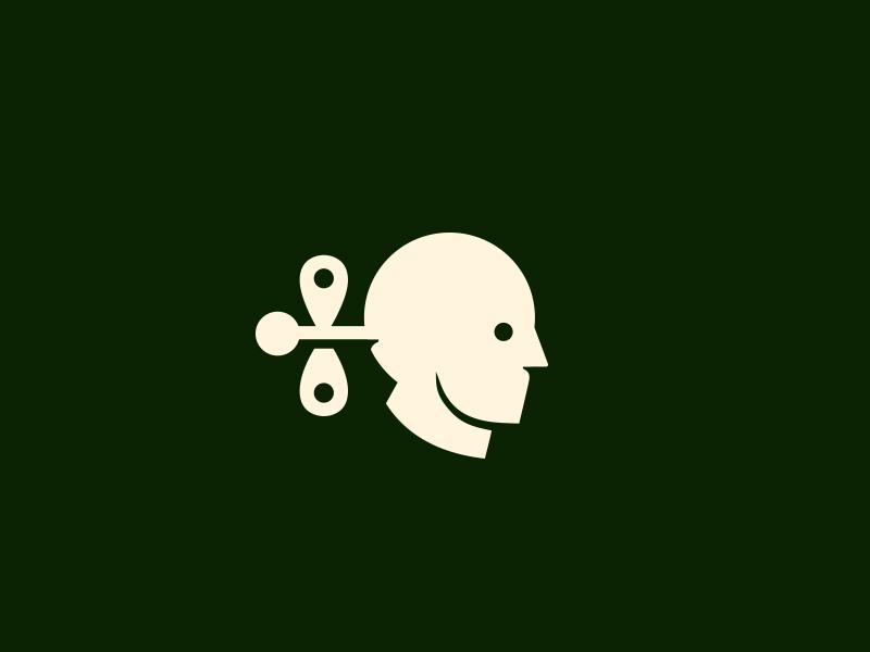 Clockwork Fortune logotype brandmark head man minimalism logo icon clockwork screw cog psychology programming
