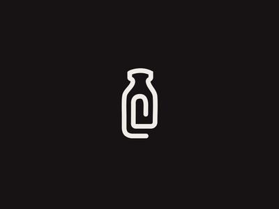 DeMilked Brandmark blog paperclip brandmark icon logotype brand mark simple bottle milk symbol
