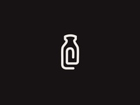 DeMilked Brandmark blog paperclip brandmark icon logotype brand mark simple bottle milk symbol