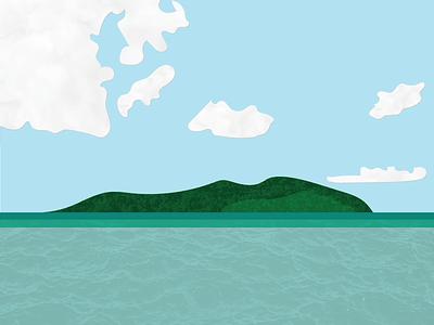 Hayman Island beach illustrator vector minimal illustration design island