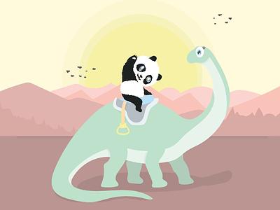 Ride m Dino sunset flat illustrator vector illustration design cute pandas panda dinosaurus dinosaurs