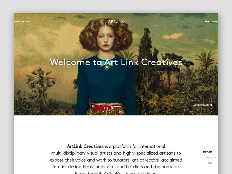 Artlink.com Creatives layout ui typography type minimal clean web website artist art landing page