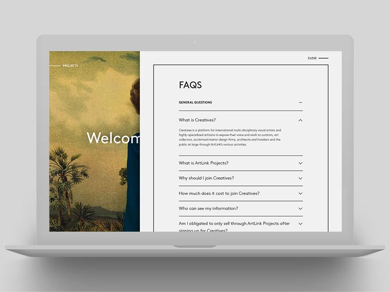 Artlink.com Creatives FAQ layout ui typography type minimal clean web website artist art form faq