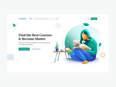 E-learning Website Design website animation motion illustration website online course elearning website elearning landingpage