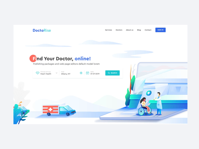 Online Hospital Landing Page product design web design illustrations animation illustration online health online doctor userinterface userexperience landing page