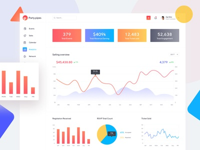 Event management - Dashboard ux analytics dashboard analytics event app event management saas web app webapplication backend userexperience userinterface dashboard