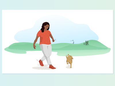 Walking illustraion park dog walking walking dog illustration dog woman illustration woman