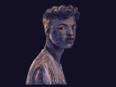 Blue portrait portrait illustration portraits portrait art character digital painting procreate man figure blue portrait young man portrait