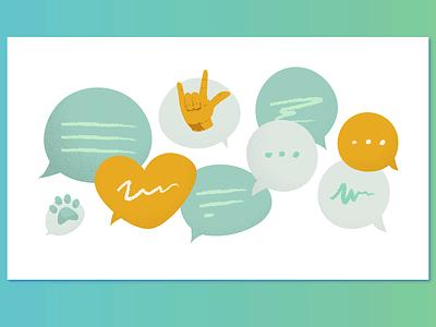 social support illustration communication communicate talk speak speech bubbles speech sign language social texting talking social support