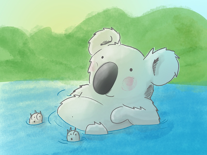 Koala character watercolor bath outback animals kidslit koala illustration
