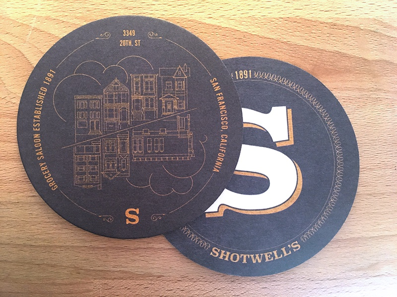 Shotwell's Coasters 2 drink gold print architecture illustration coasters bar
