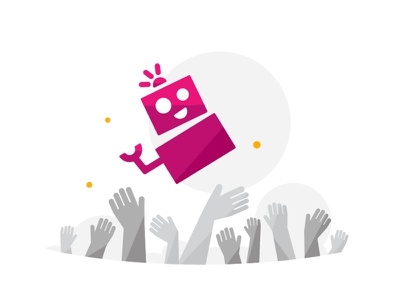 Crowdfunding Robot party character vector illustration