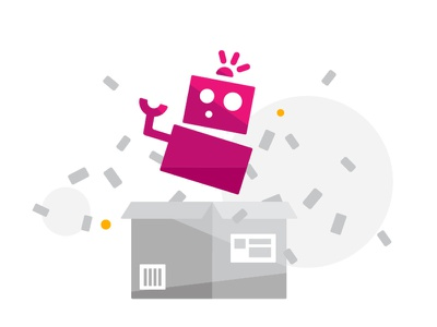 Marketplace Robot marketplace delivery box package character vector illustration