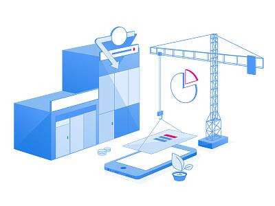 Isometric Build building crane isometric design isometric illustration isometric vector illustration