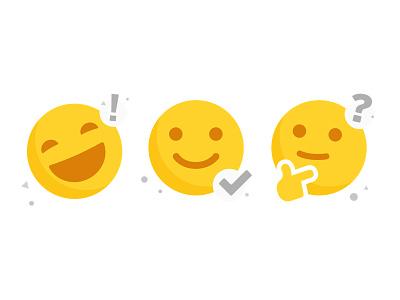 Reactions questions content happy emoji set emoji character vector illustration
