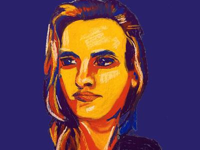 Portrait oil pastel portrait self portrait character colorful illustration