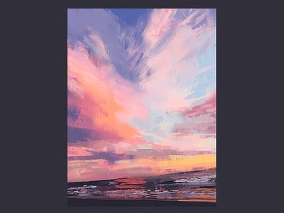 Ocean Beach Sunset san francisco impressionist sky scenery clouds ocean background landscape digital illustration digital painting sunset