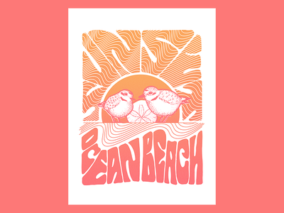 Plovers at Ocean Beach poster art poster nature snowy plover plover birds sunset ocean beach beach san francisco psychedelic hand drawn lettering hand drawn type illustration