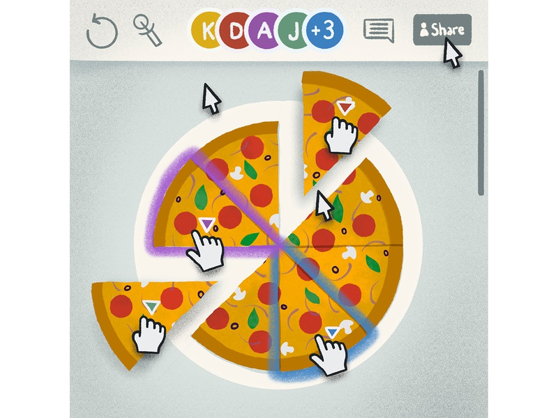 WFH Tip: Hold a virtual team lunch teamwork virtual lunch illustration cobrowsing pizza remotework wfh