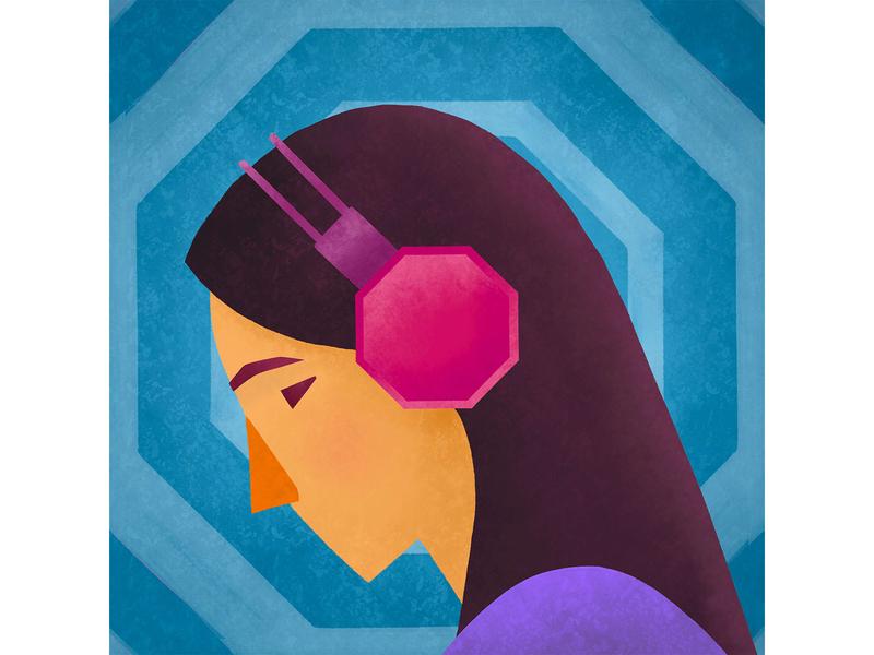 WFH Tip: Use 🛑on Slack when unavailable woman headphones profile do not disturb focus speedart illustration remote work wfh