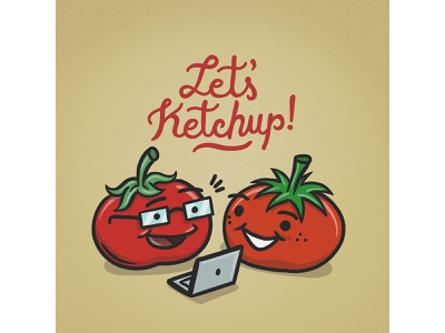 WFH Tip: Spend 1h/week catching up with other teams' work work from home ketchup tomatoes wfhtip teamwork speedart remote work illustration wfh