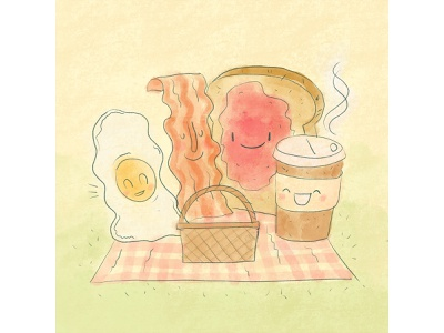 WFH Tip: Have family breakfast or lunch work from home morning picnic family breakfast breakfast speedart wfhtip remote work illustration wfh