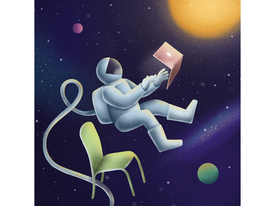 WFH Tip: We're all remote outer space laptop space astronaut work from home teamwork speedart wfhtip remote work illustration wfh