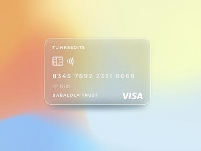 Frosted Visa Credit Card glassmorphism minimalism branding card credit card design