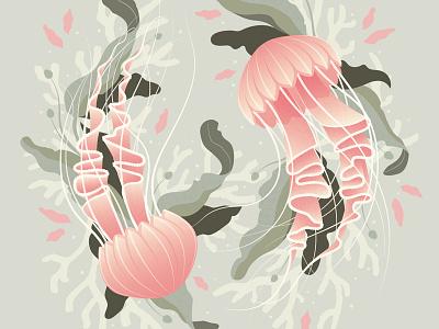 Jellyfish seaweed floral foliage coral jellyfish vector illustration