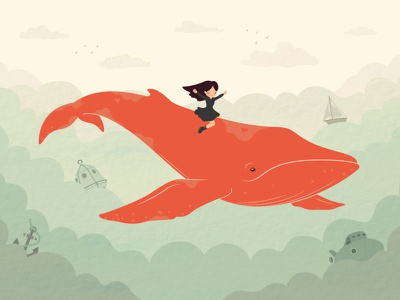 Perry's Whale clouds sky ship submarine anchor sea vector fish flying illustration girl whale
